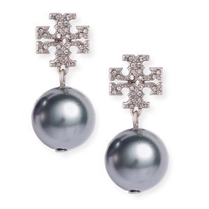 TORY BURCH • Crystal Logo Pearl Drop Earrings